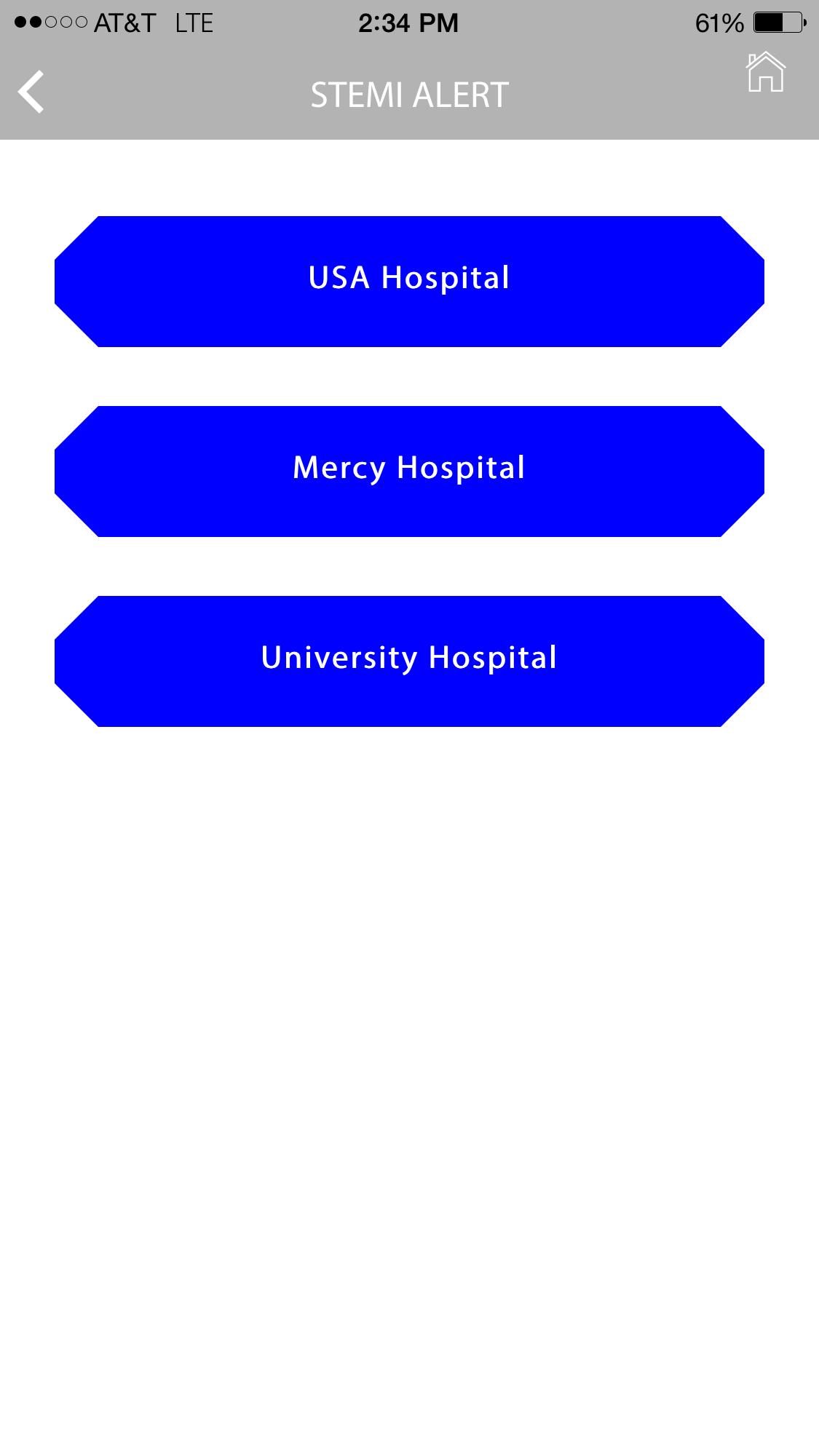 Stemi Alert App Facility Screen